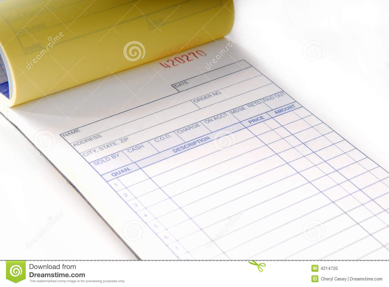 sales invoice stock photo image of receipt inventory 4214720