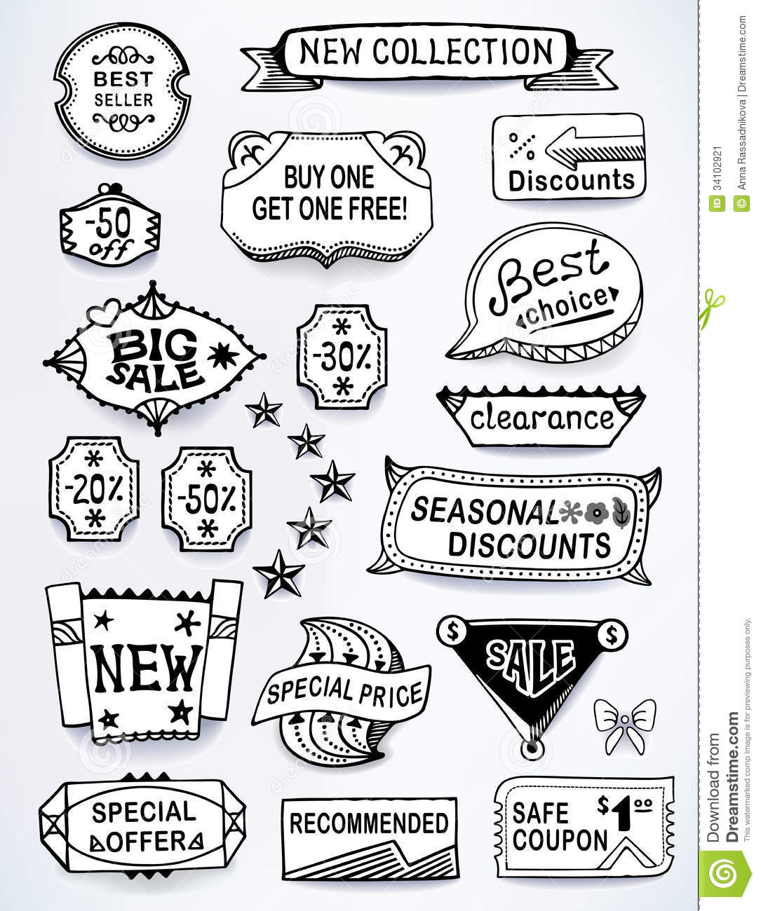 Sales messages set of promotional english text lab