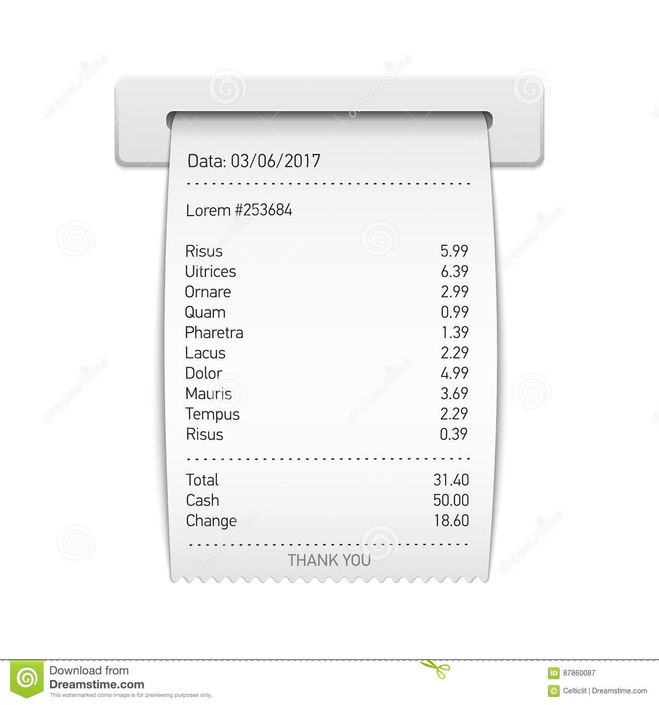 sales printed receipt sales slip shopping paper bill vector i