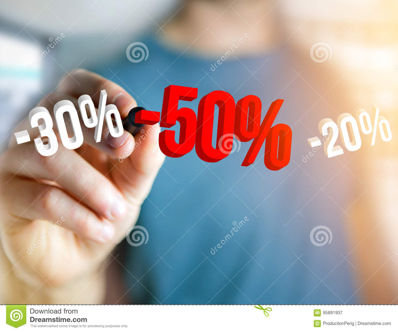 Sales promotion 20  30  and 50  flying over an interface - Shopping concept