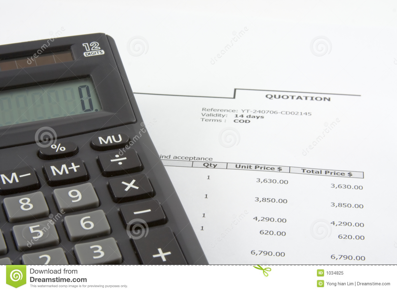 sales quotation and calculator stock image image of sales