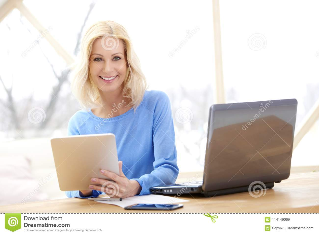 Sales Working Home Office In Sales Woman Using Digital Tablet Woman Using Digital Tablet Stock Image Of Entrepreneur