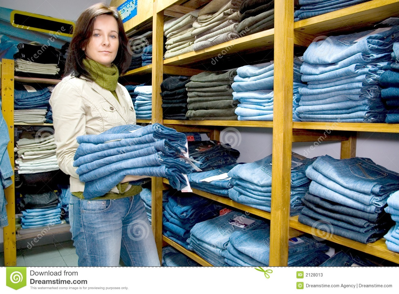 Saleslady in a jeans wear shop