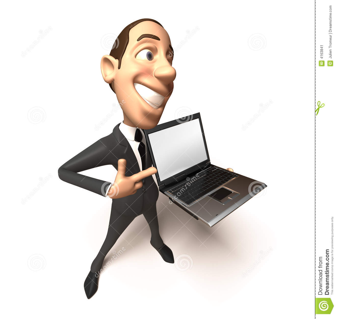 Salesman, businessman with a laptop, 3d generated.