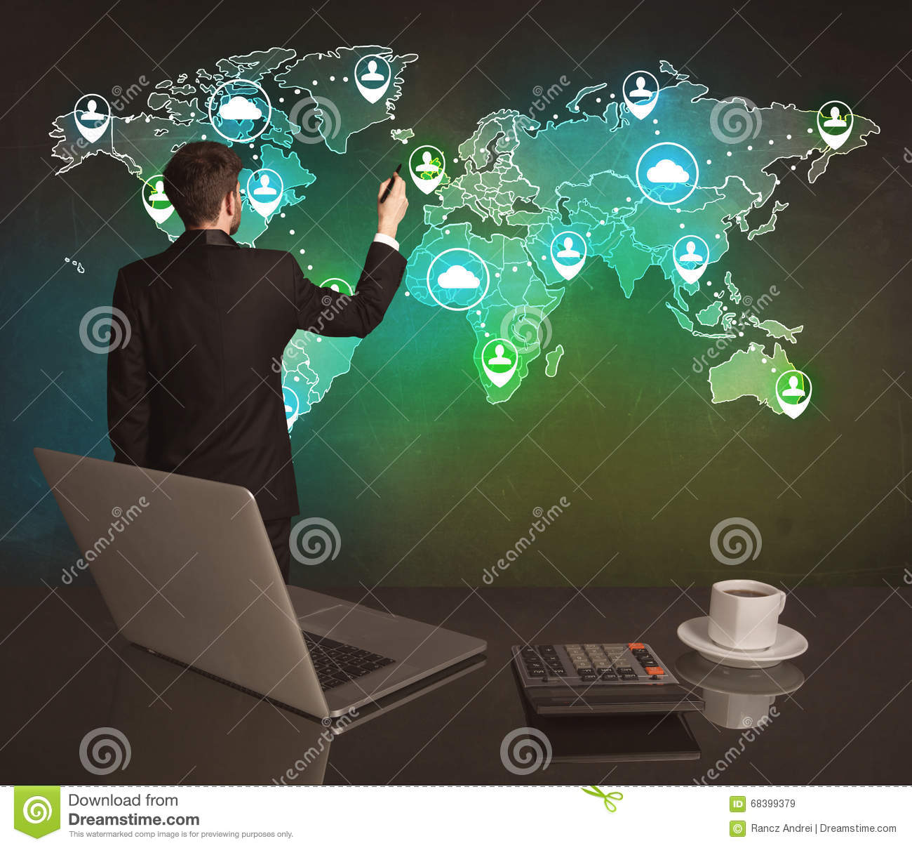 Salesman Drawing On World Map At Office Stock Image Image 68399379
