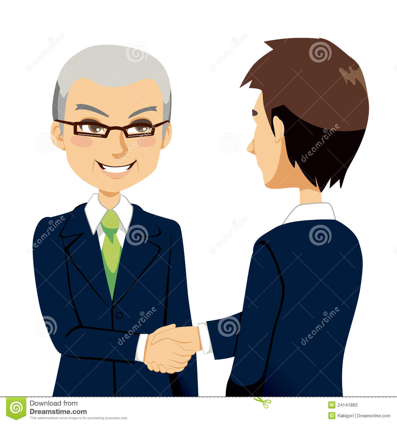 Senior experienced salesman agent greeting with handshake young ...