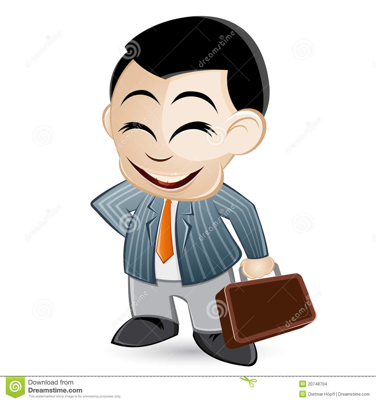 An illustration of a salesman or a business man with a briefcase. .