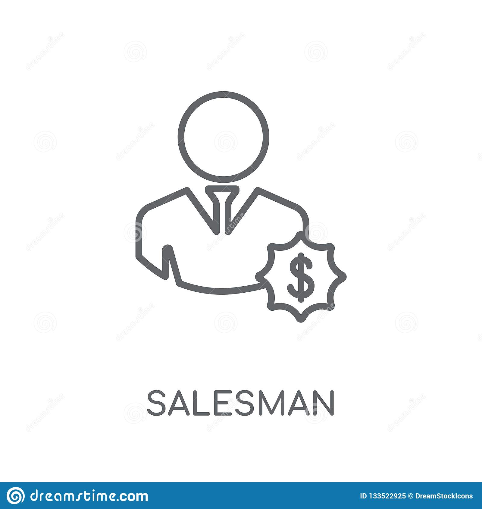 Salesman linear icon. Modern outline Salesman logo concept on wh