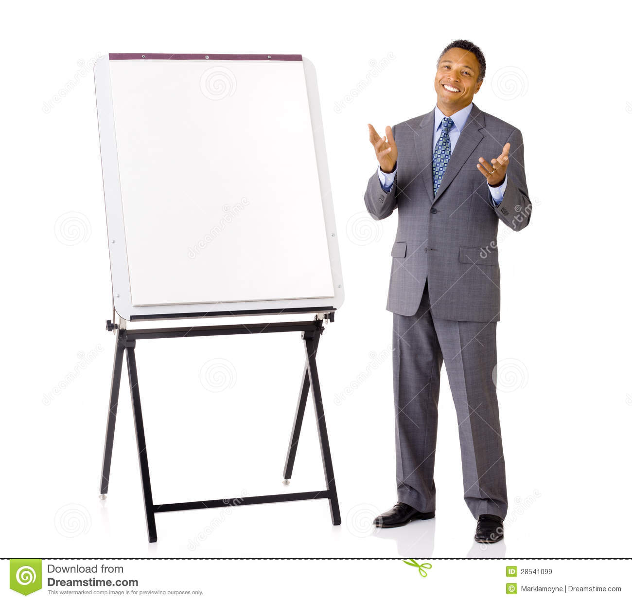 salesman with marketing easel stock photo image of attractive