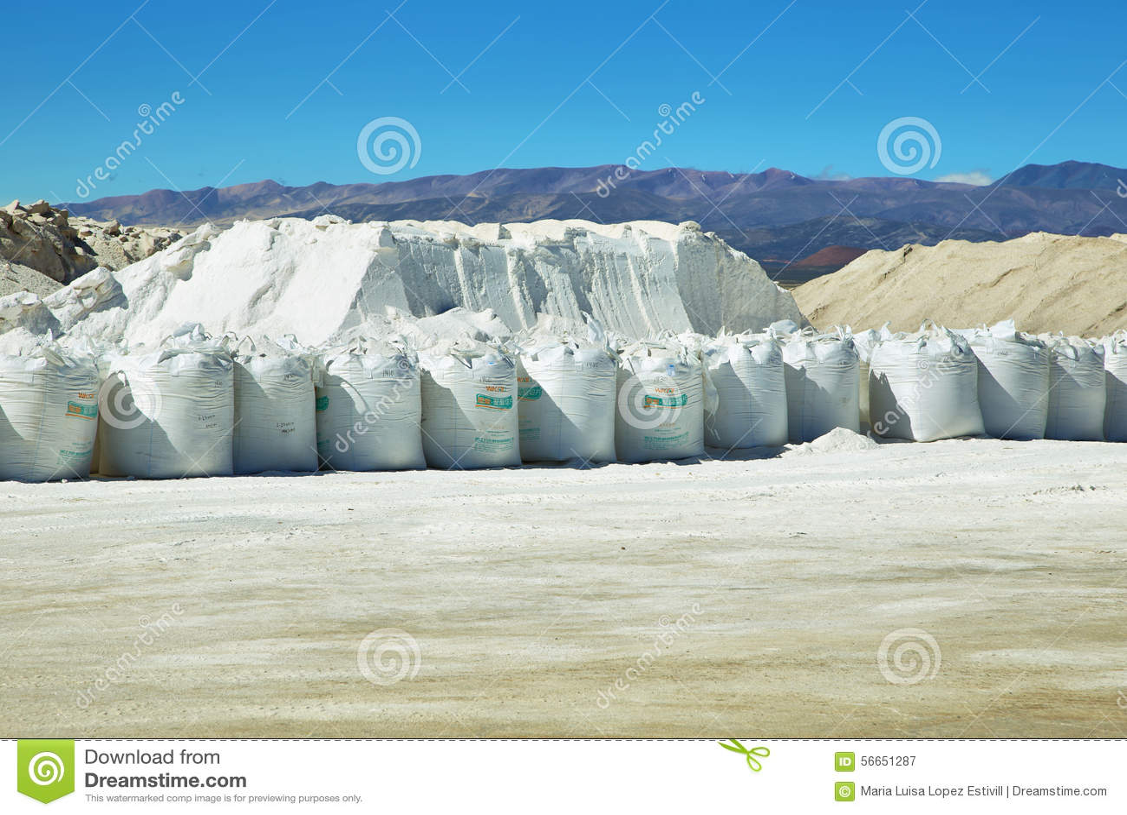 Salez la pile et les sacs avec du sel sur des salines Grandes