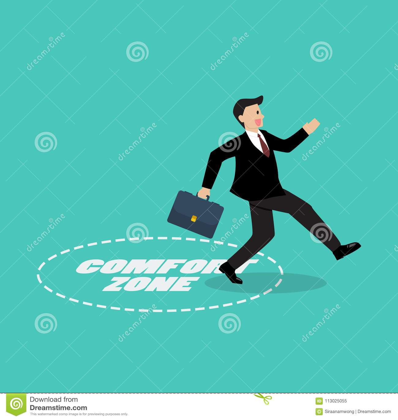 Salida del hombre de negocios de la zona de comodidad