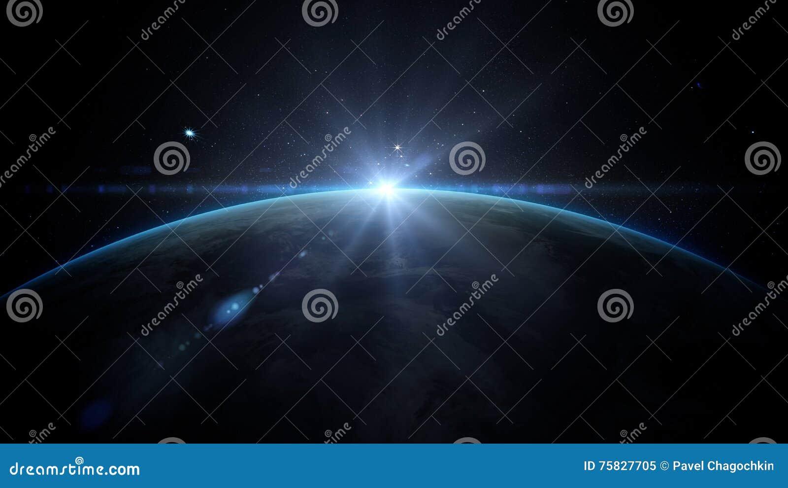 Salida del sol sobre la tierra según lo visto de espacio Con el fondo de las estrellas representación 3d