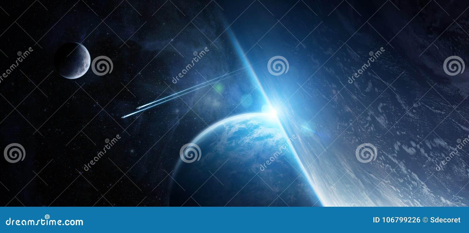 Salida del sol sobre sistema distante del planeta en el elemento de la representación del espacio 3D