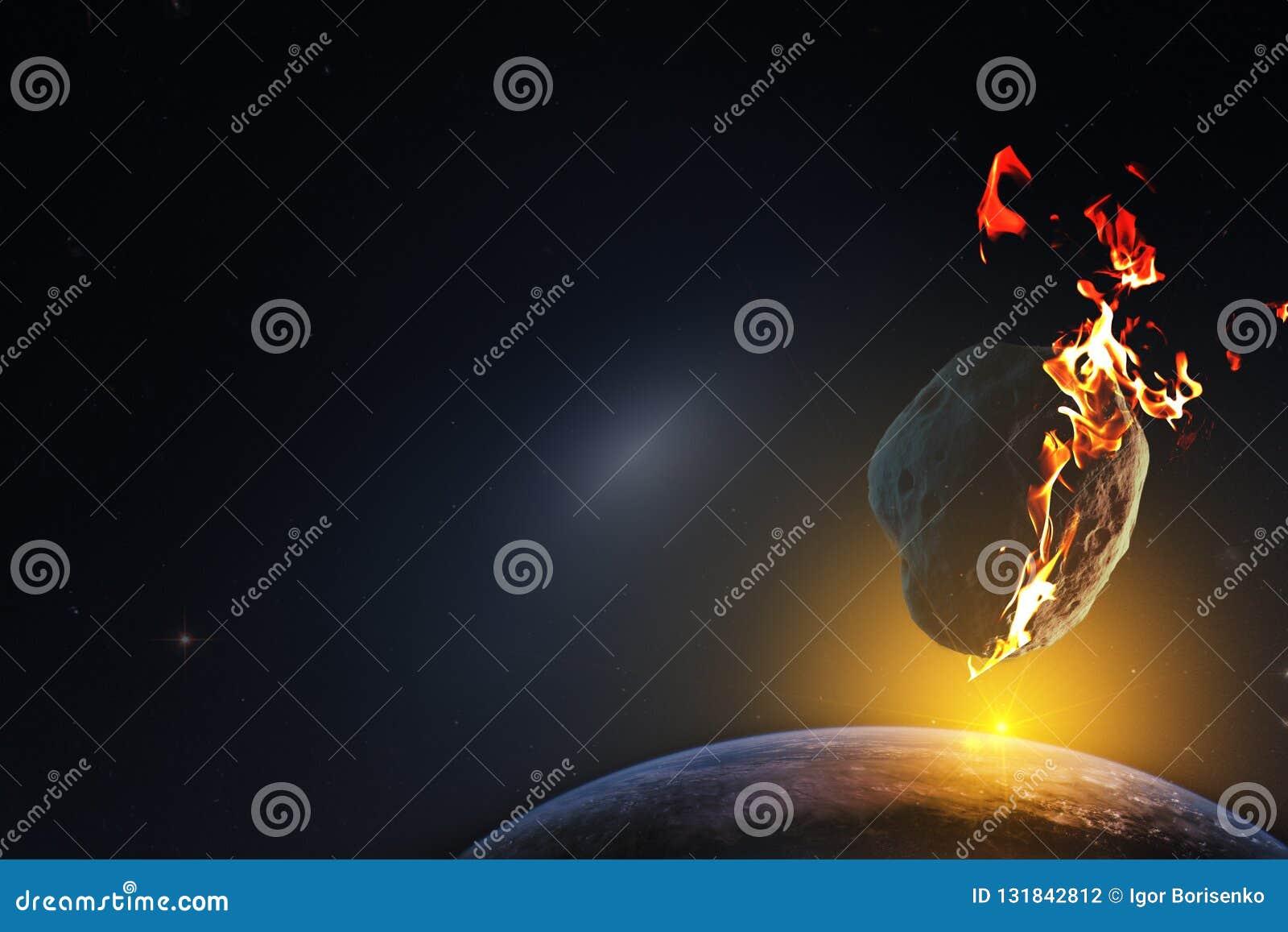 Salida del sol sobre un planeta condenado a la muerte a partir de la caída de un meteorito del espacio infinito del universo Elem