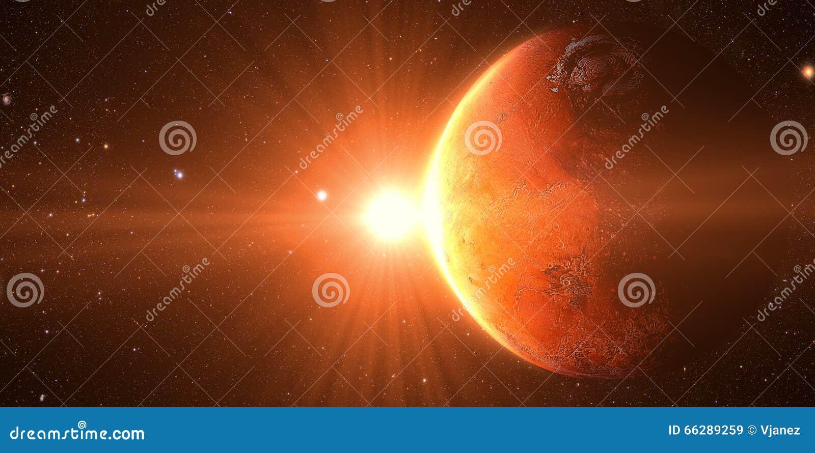 Salida del sol vista de espacio en venus