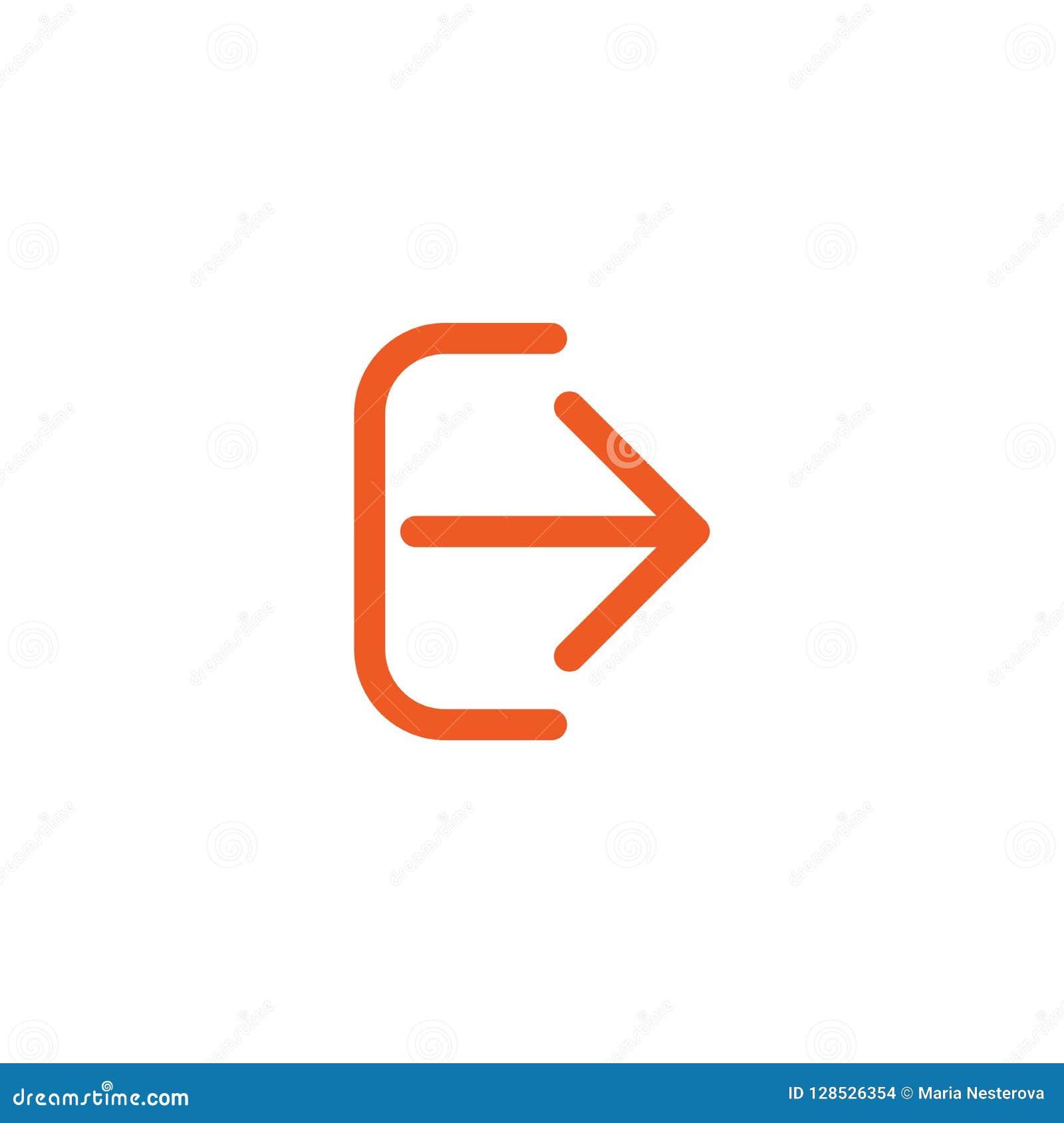 Salida o salida del sistema, icono del cierre de sesión Aislado en blanco flecha redondeada derecha fina roja con el soporte