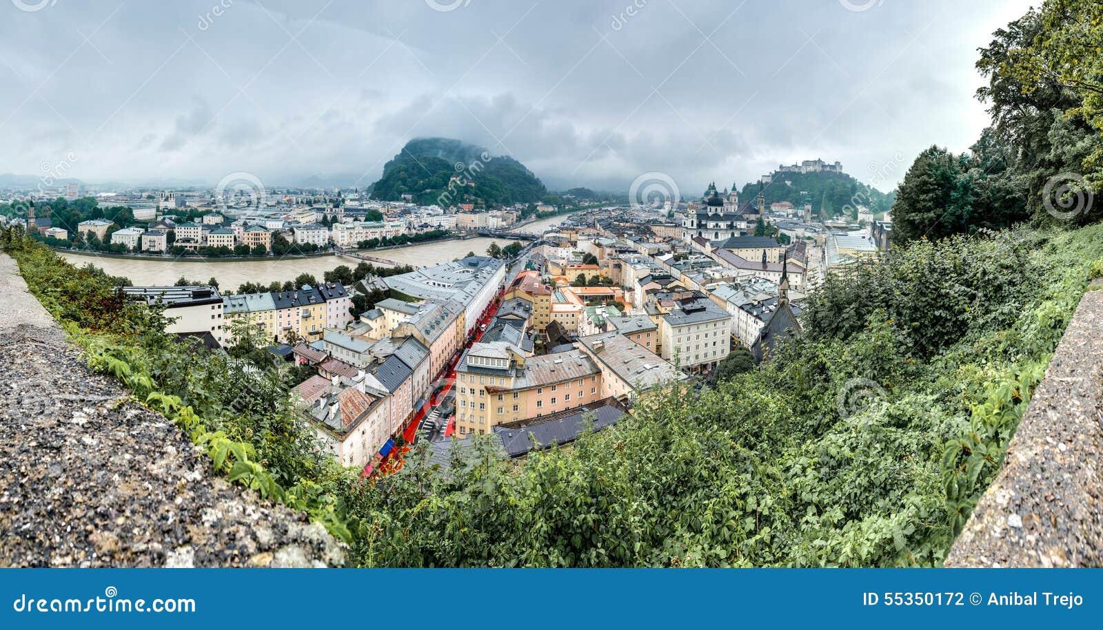 Salisburgo veduta da Monchsberg, Austria