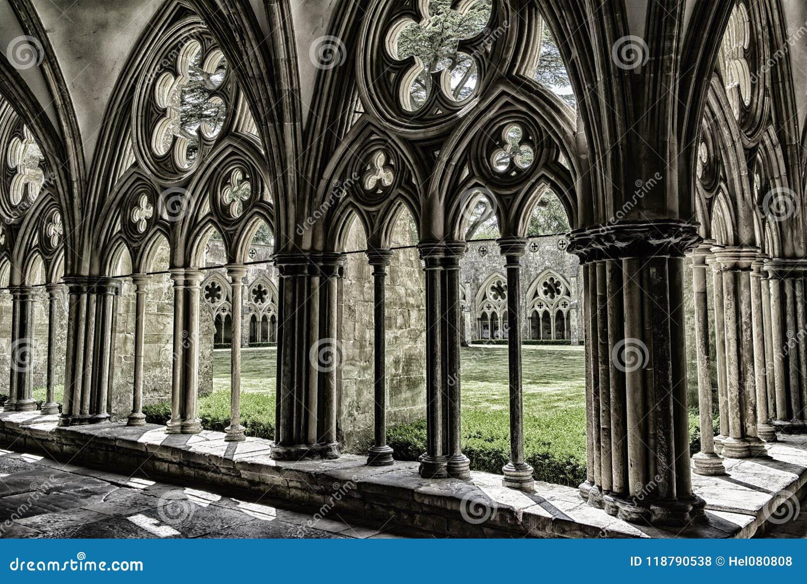 Salisbury domkyrka, agnificent geometrisk modell av den medeltida konsten