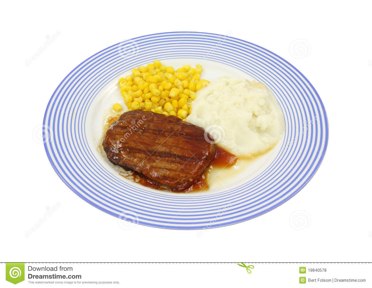 Salisbury Steak Dinner On Blue Plate Royalty Free Stock