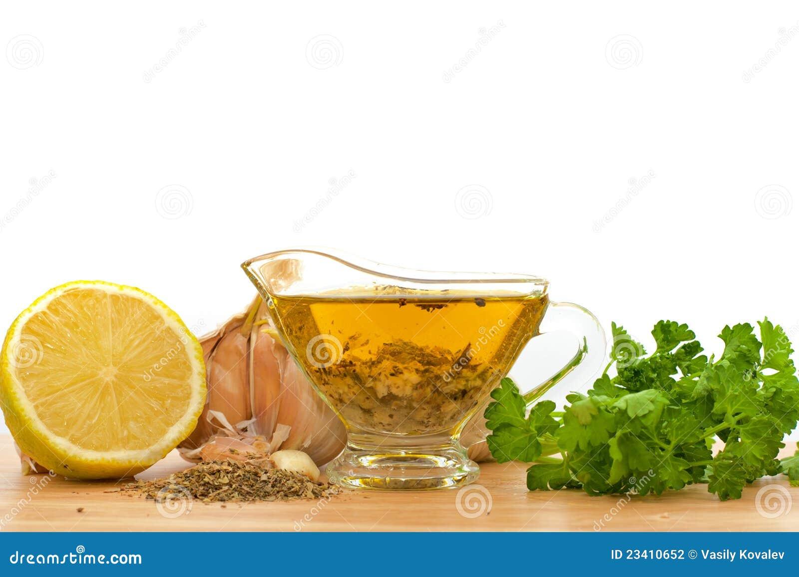 Sallad för olivgrön för olja för dressingvitlökcitron