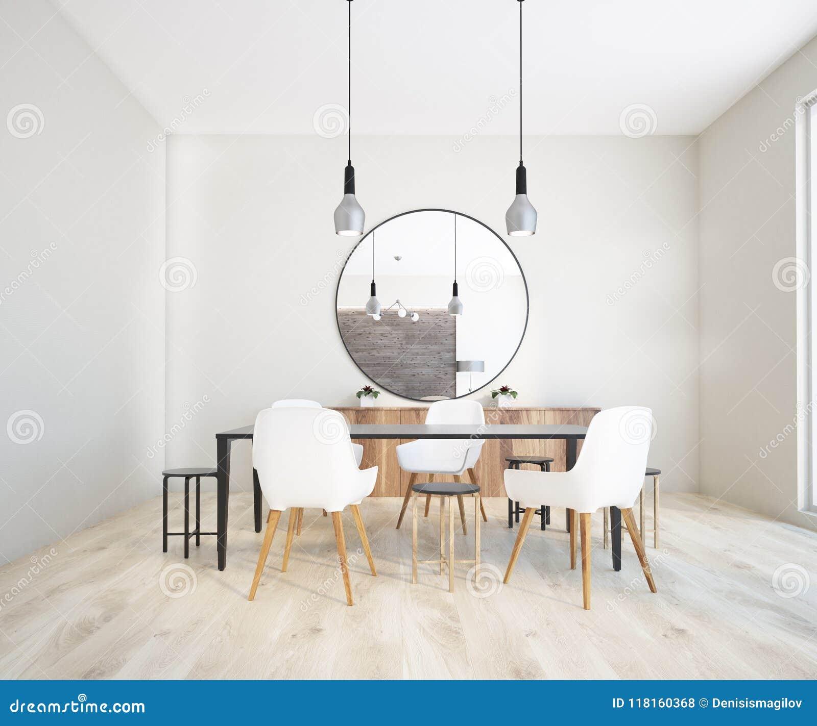 Miroir Salle De Sejour salle à manger classique intérieure, miroir rond