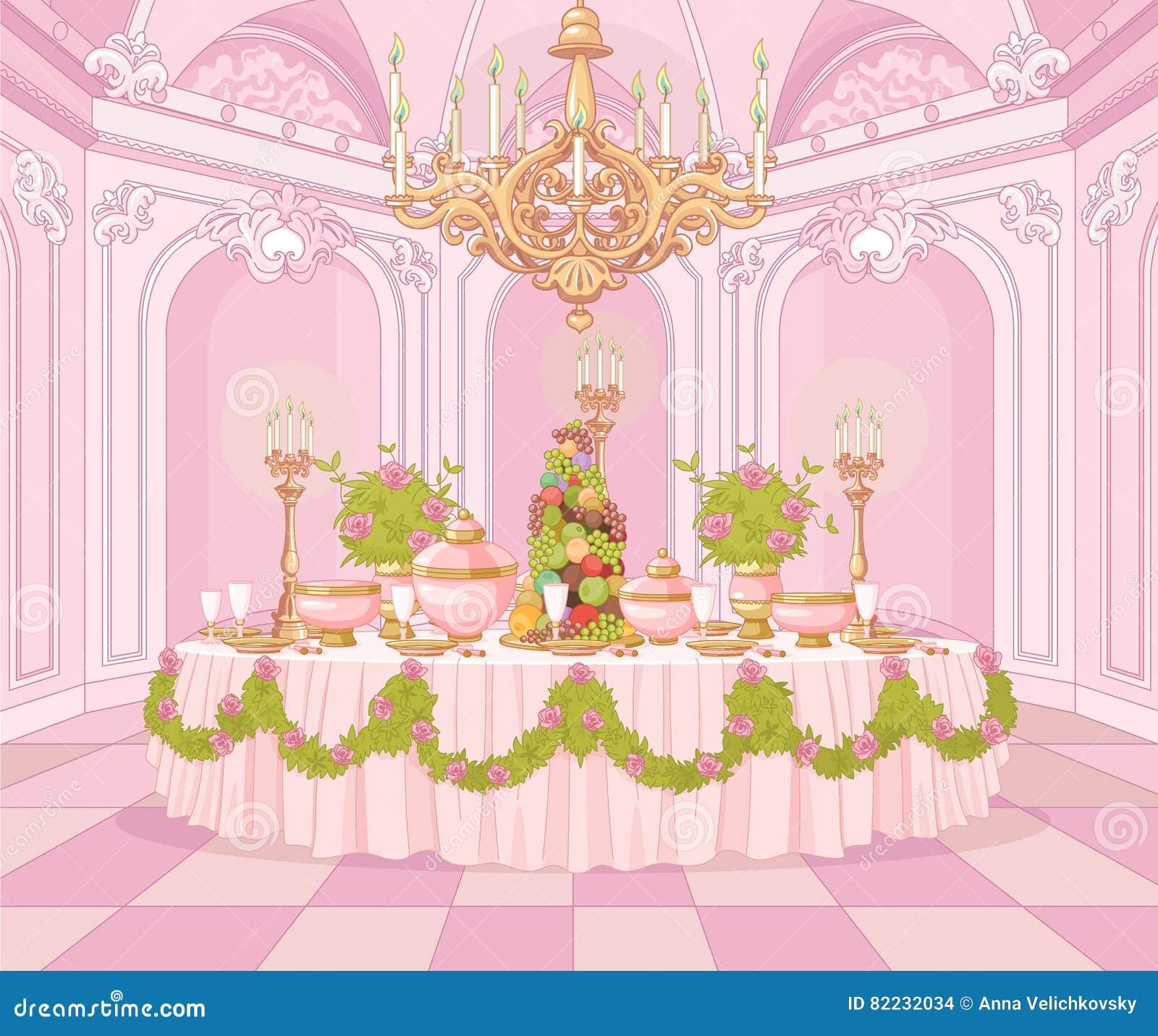 Salle manger dans princesse palace illustration de for Salle manger dessin