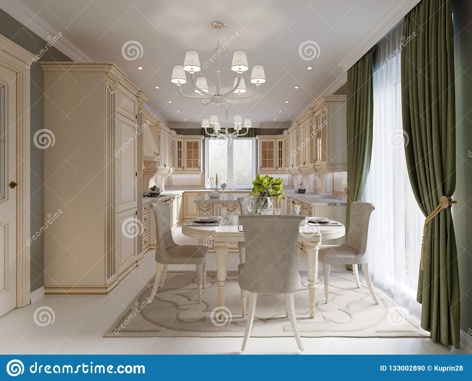 Rideau Pour Salle A Manger Moderne salle à manger de luxe beige lumineuse avec les meubles