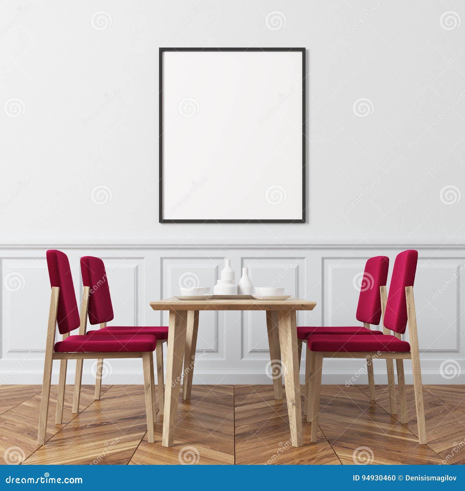 Salle A Manger De Mur Blanc Chaises Rouges Illustration Stock
