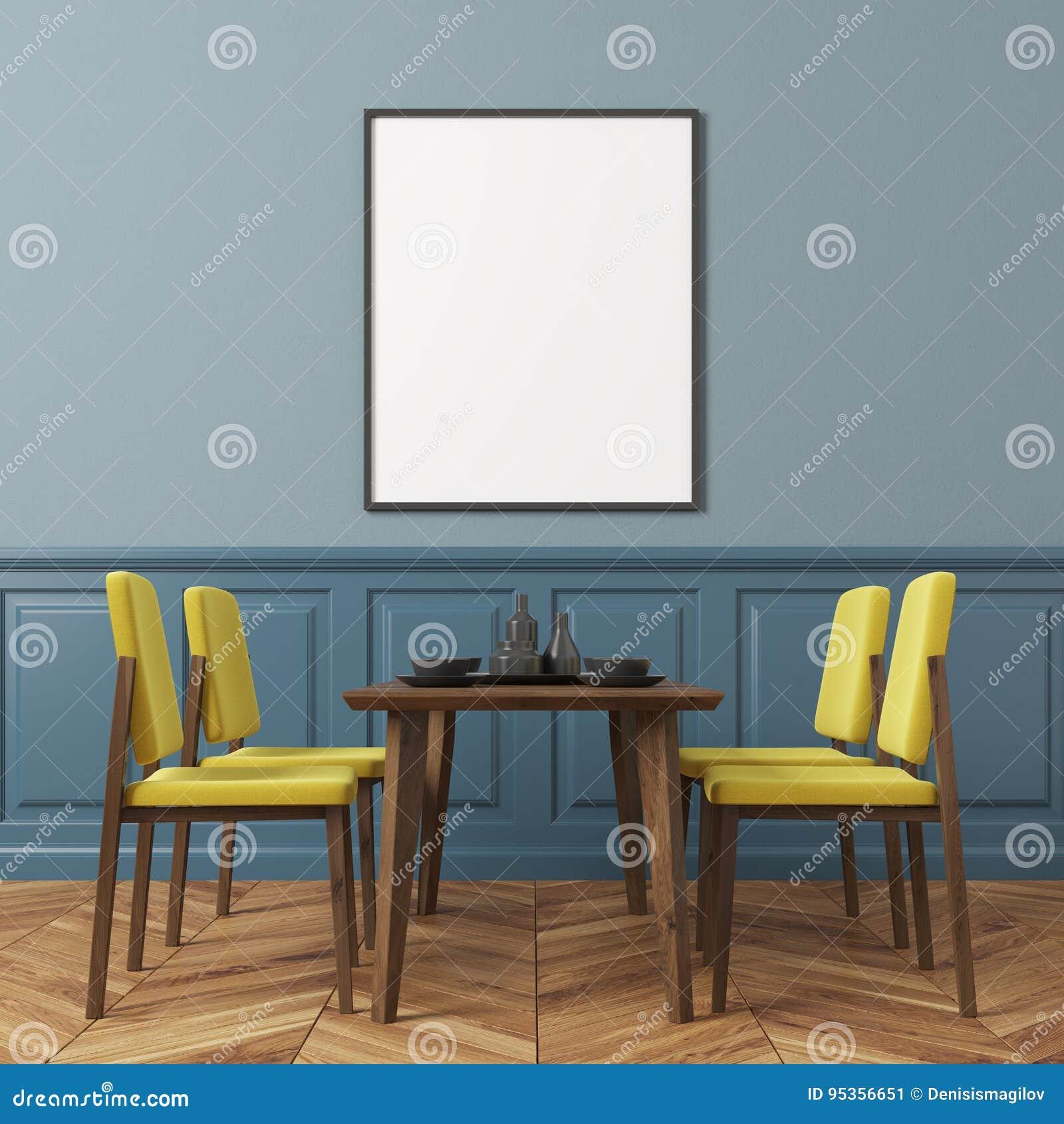 Salle A Manger De Mur Bleu Chaises Jaunes Illustration Stock