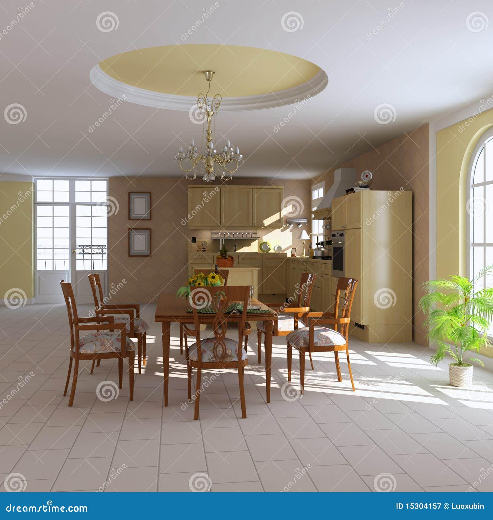 Salle manger et cuisine classiques photographie stock for Cuisine et salle a manger