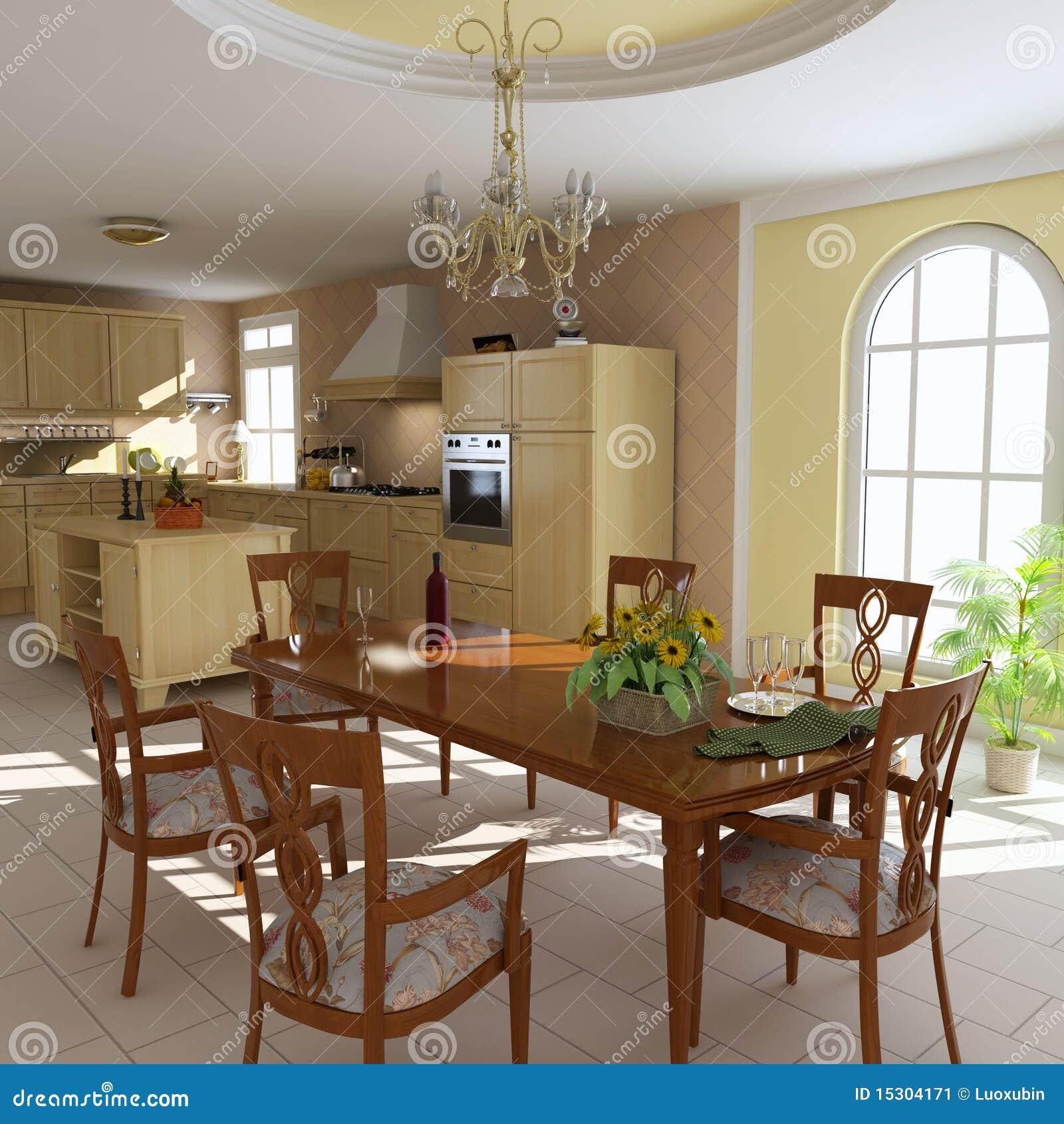 Salle manger et cuisine classiques image stock image for Salle a manger 3d