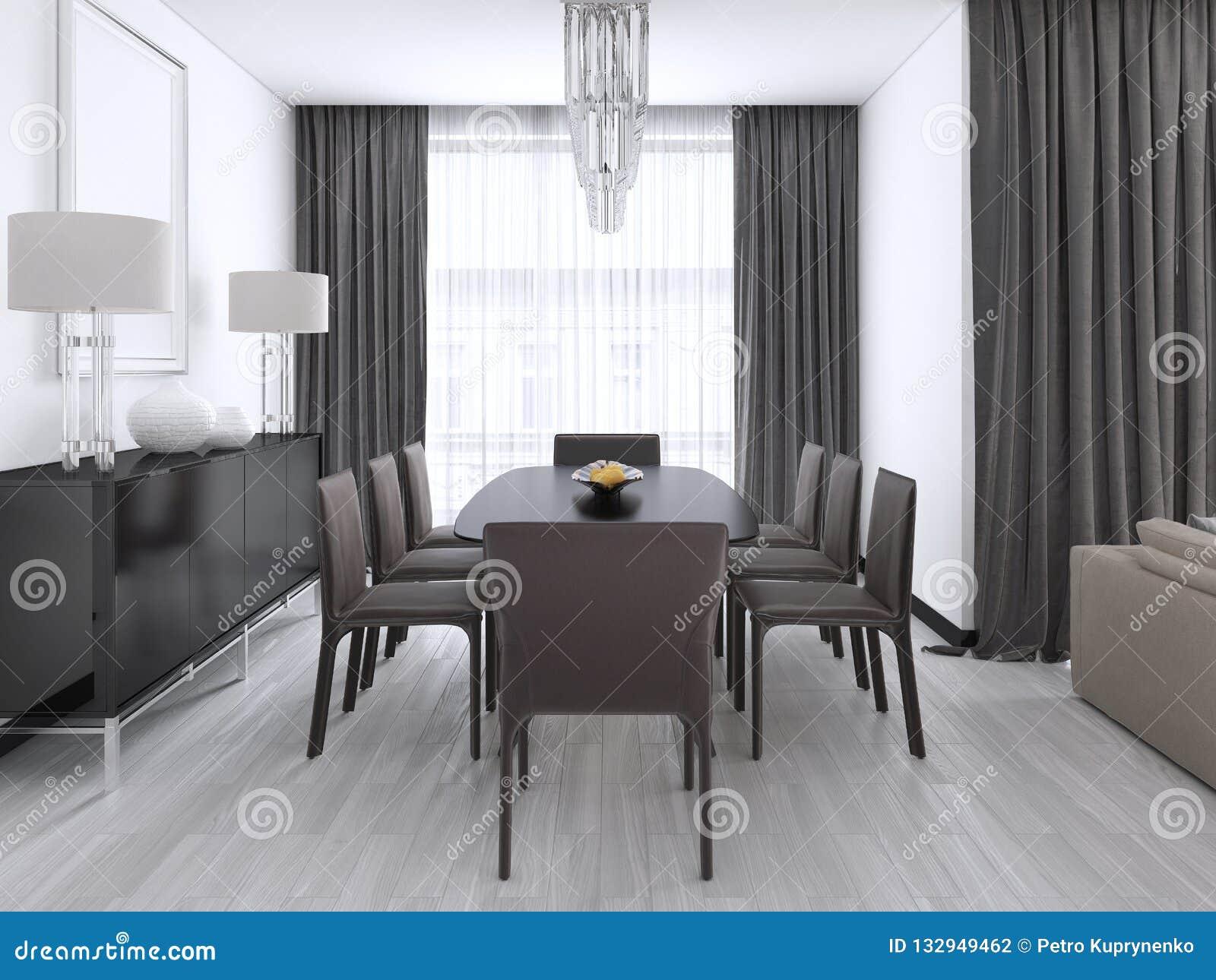Salle à Manger Moderne Luxueuse Avec Une Grande Table Et Des Chaises ...
