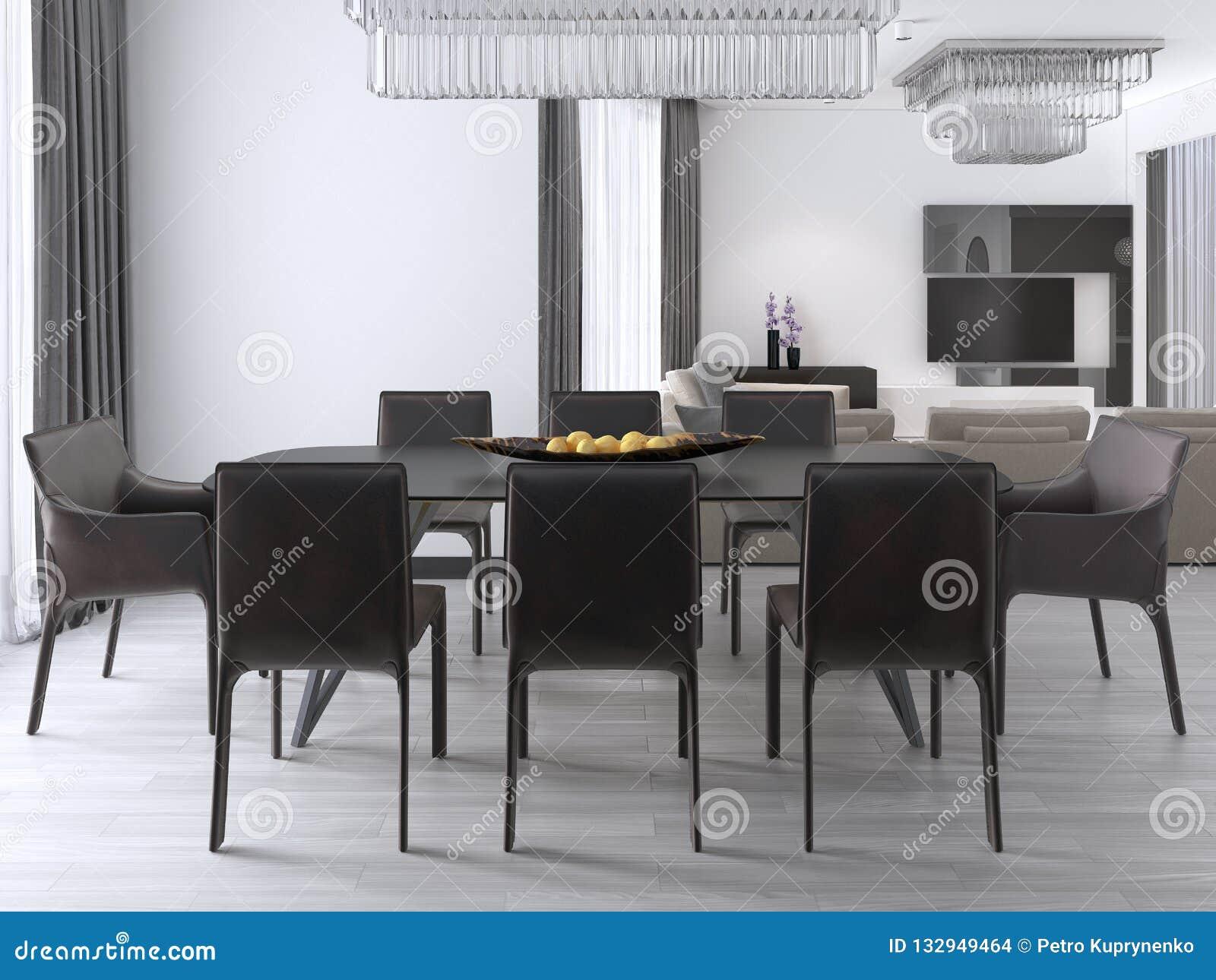 Manger Luxueuse Moderne Des Chaises Avec Table Salle À Grande Une Et 0wOk8PXnN