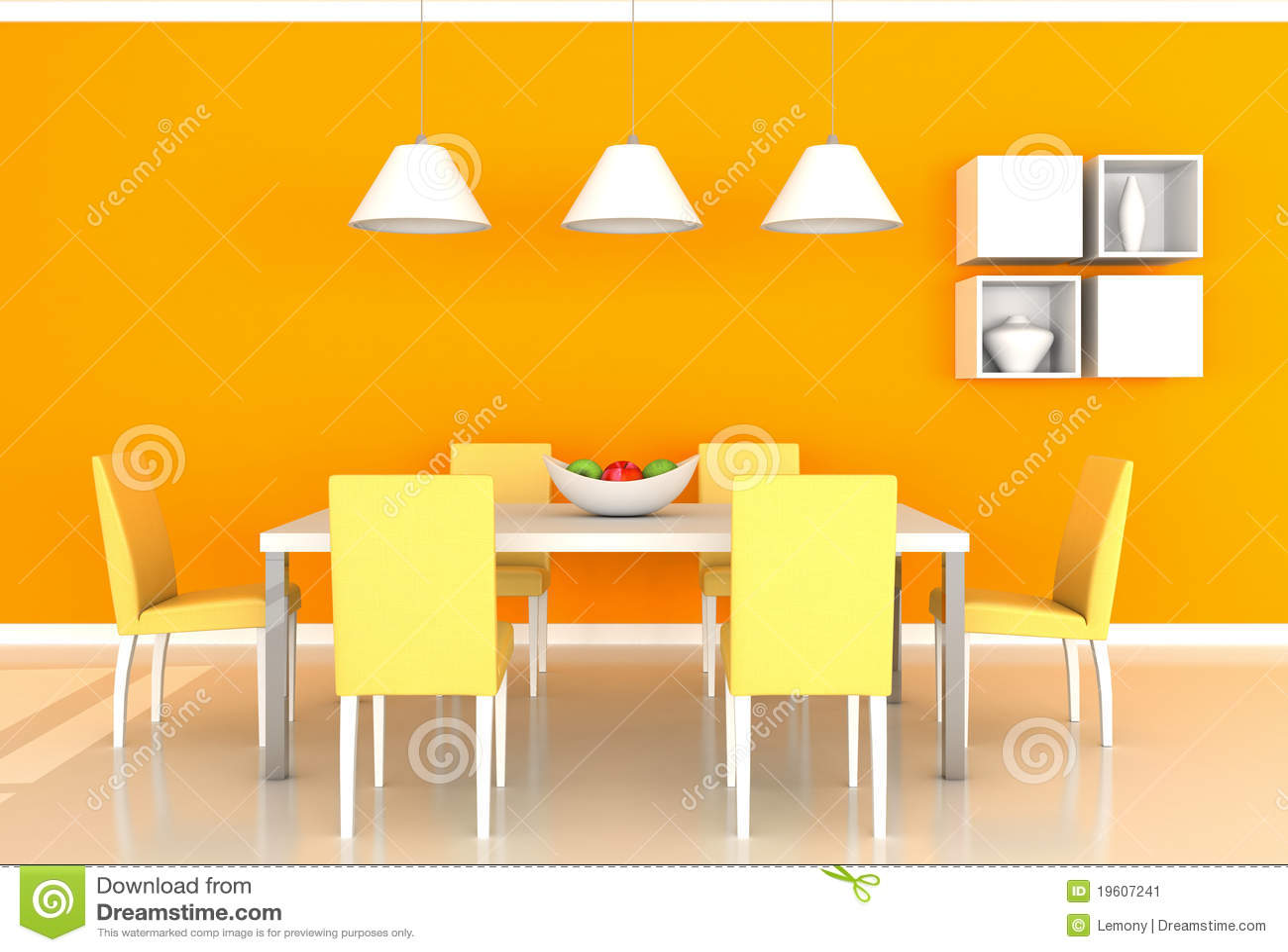 salle manger moderne orange