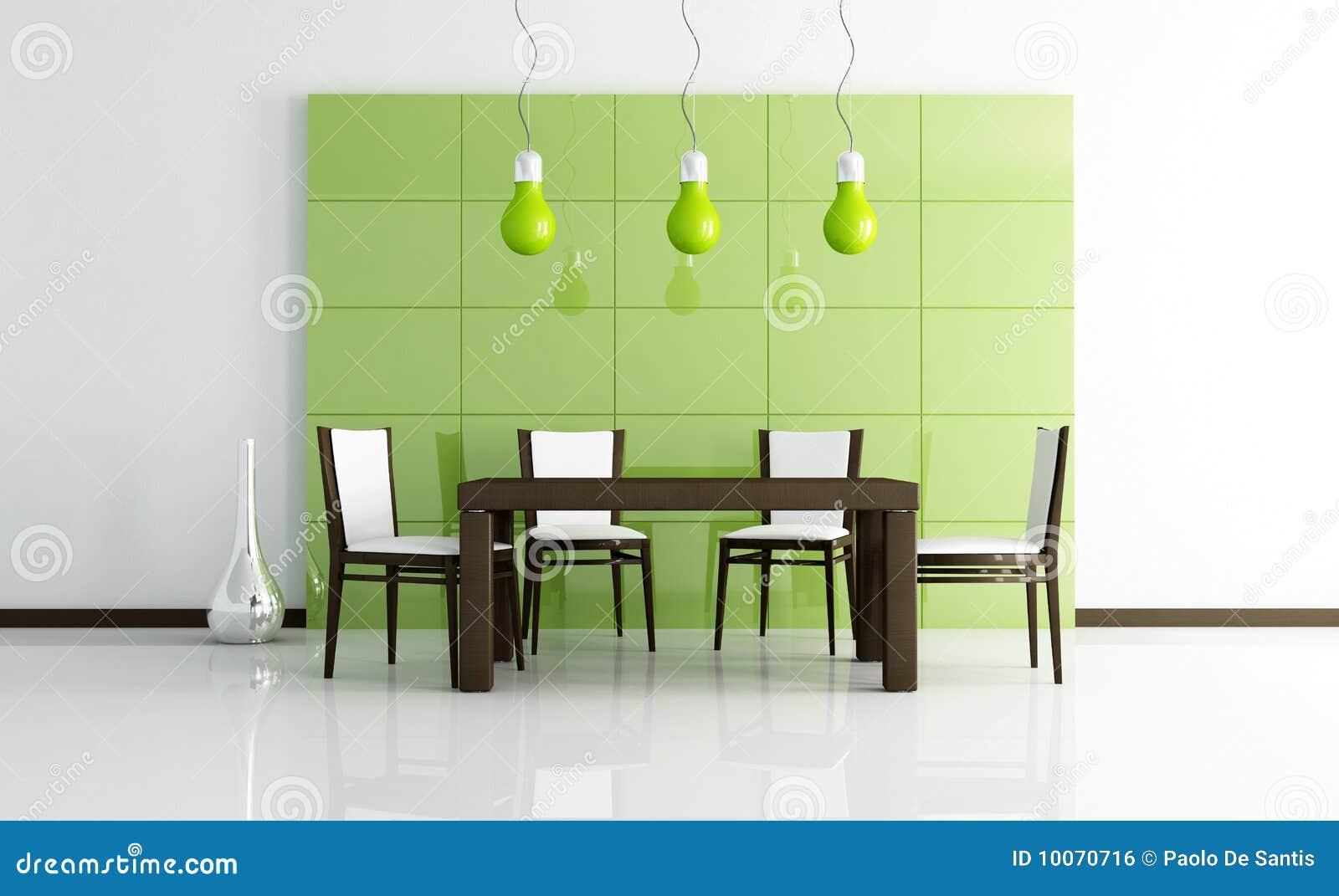 Salle à manger moderne verte avec la table en bois