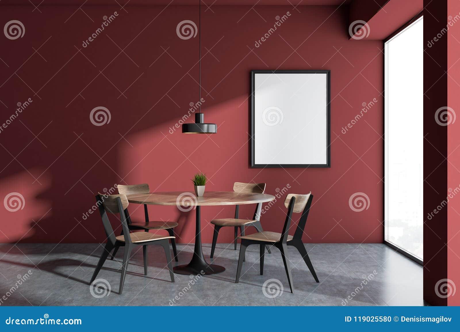Salle A Manger Rouge Panoramique De Minimalistic Cadre