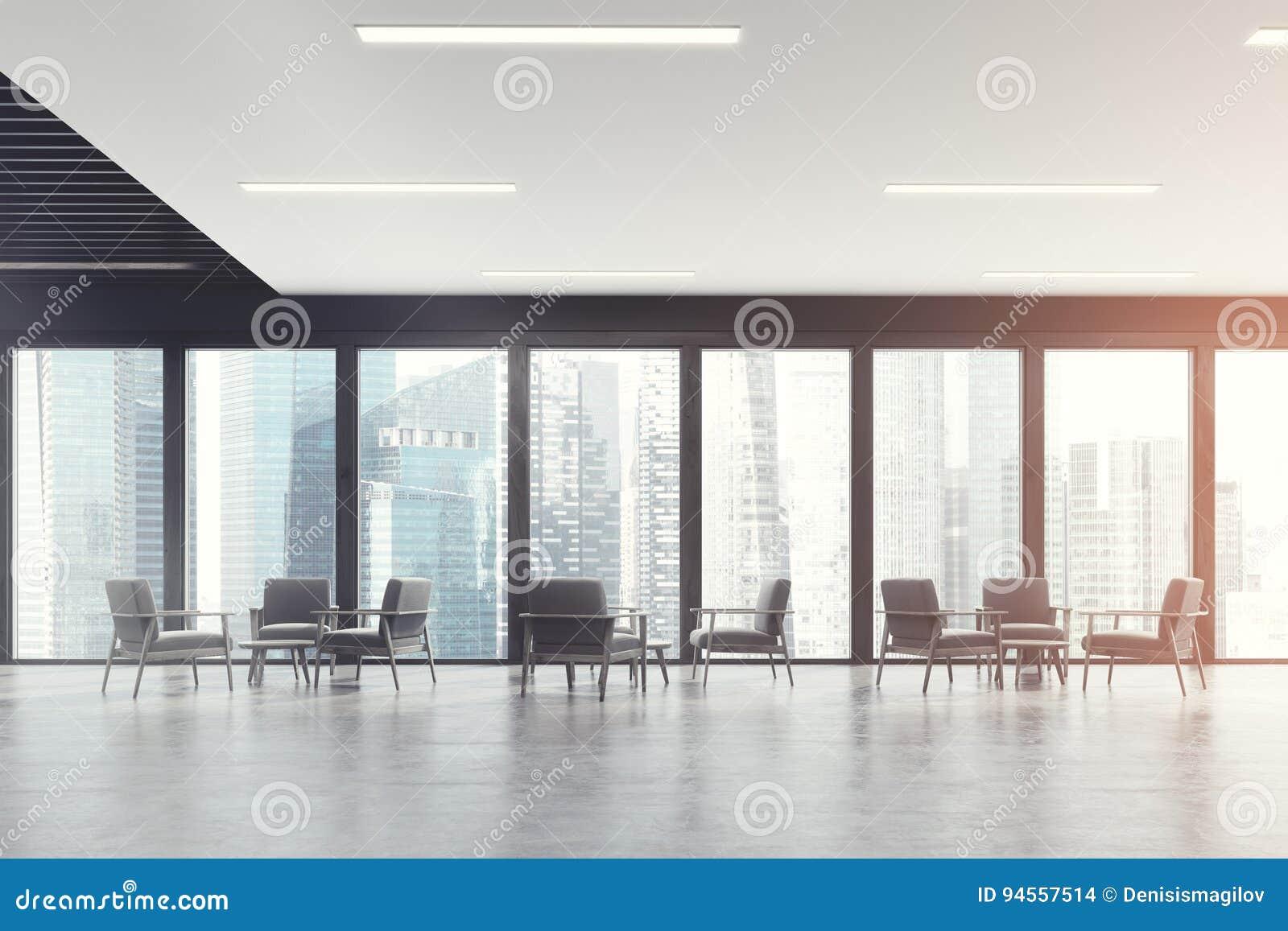 Salle d attente panoramique de bureau obscurité modifiée la