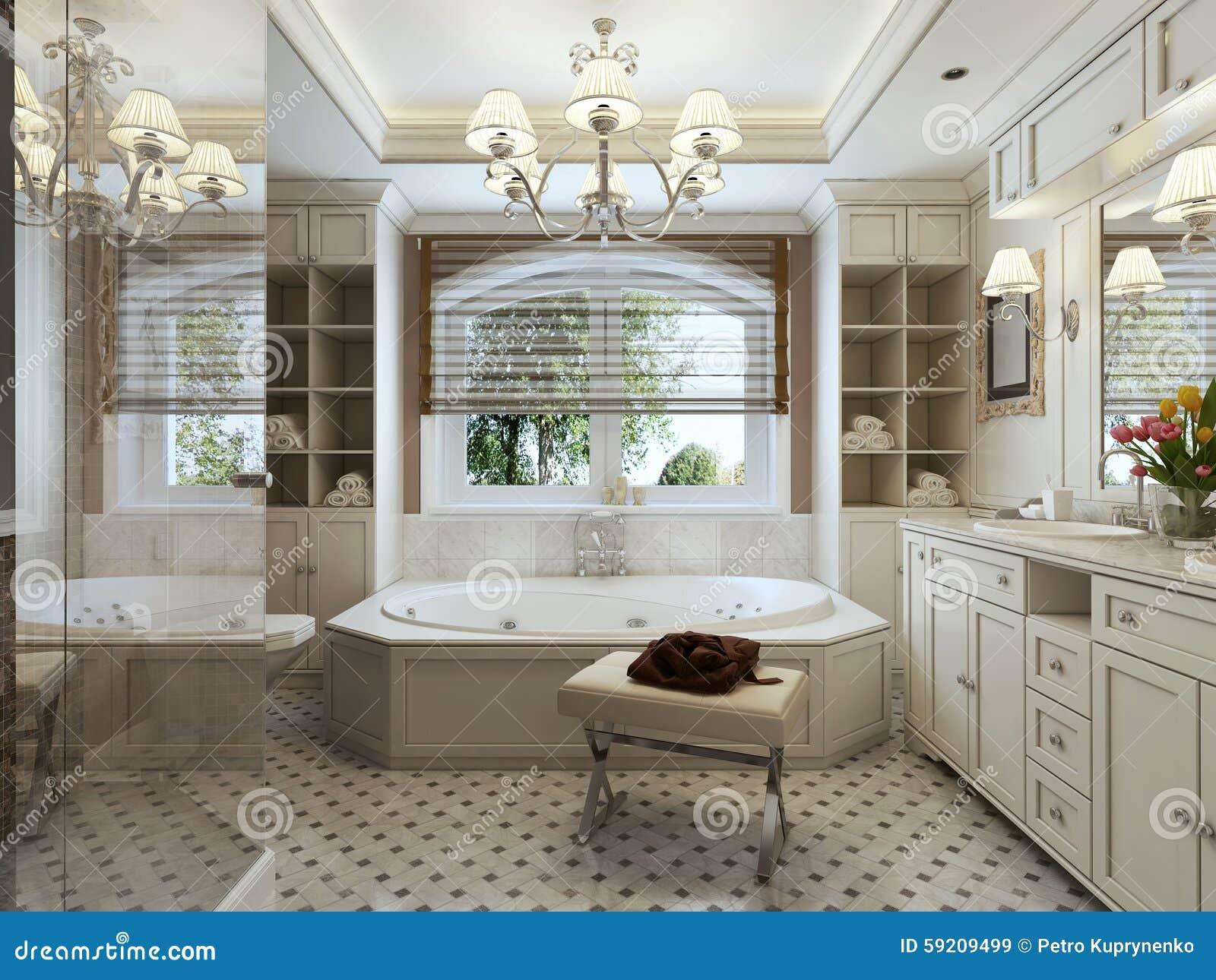 Salle de bains Art Deco image stock. Image du bain, moderne - 59209499