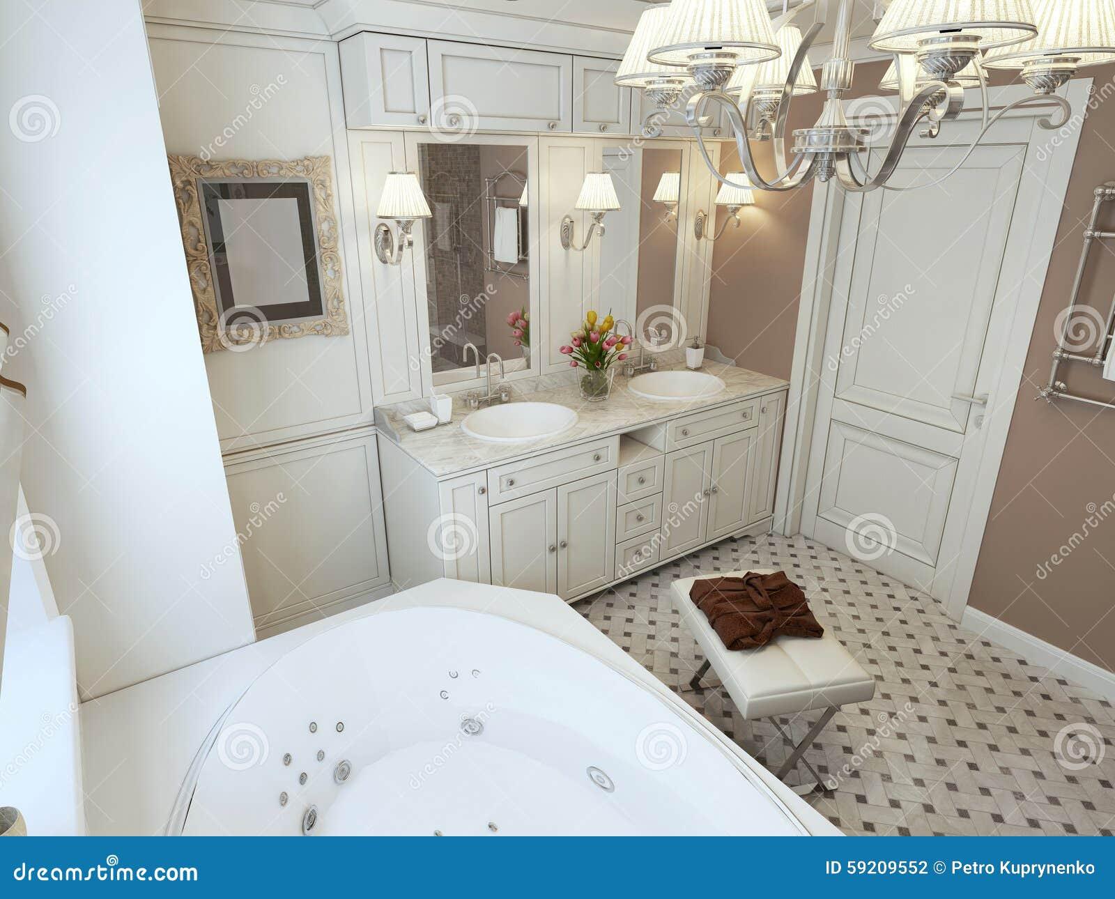 Salle de bains Art Deco photo stock. Image du trame, classique ...