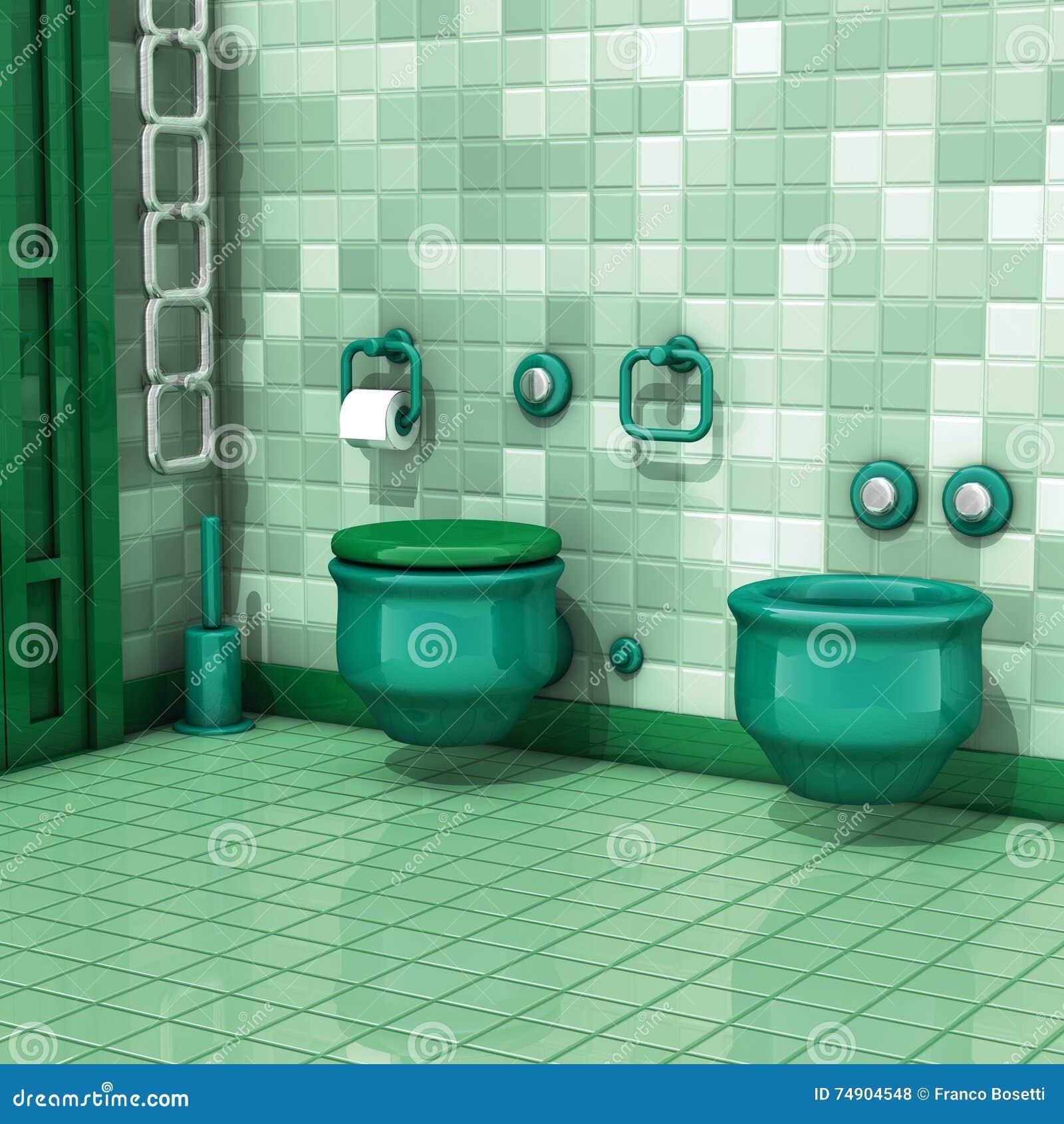 salle de bains avec des tuiles de toilette illustration stock illustration 74904548. Black Bedroom Furniture Sets. Home Design Ideas