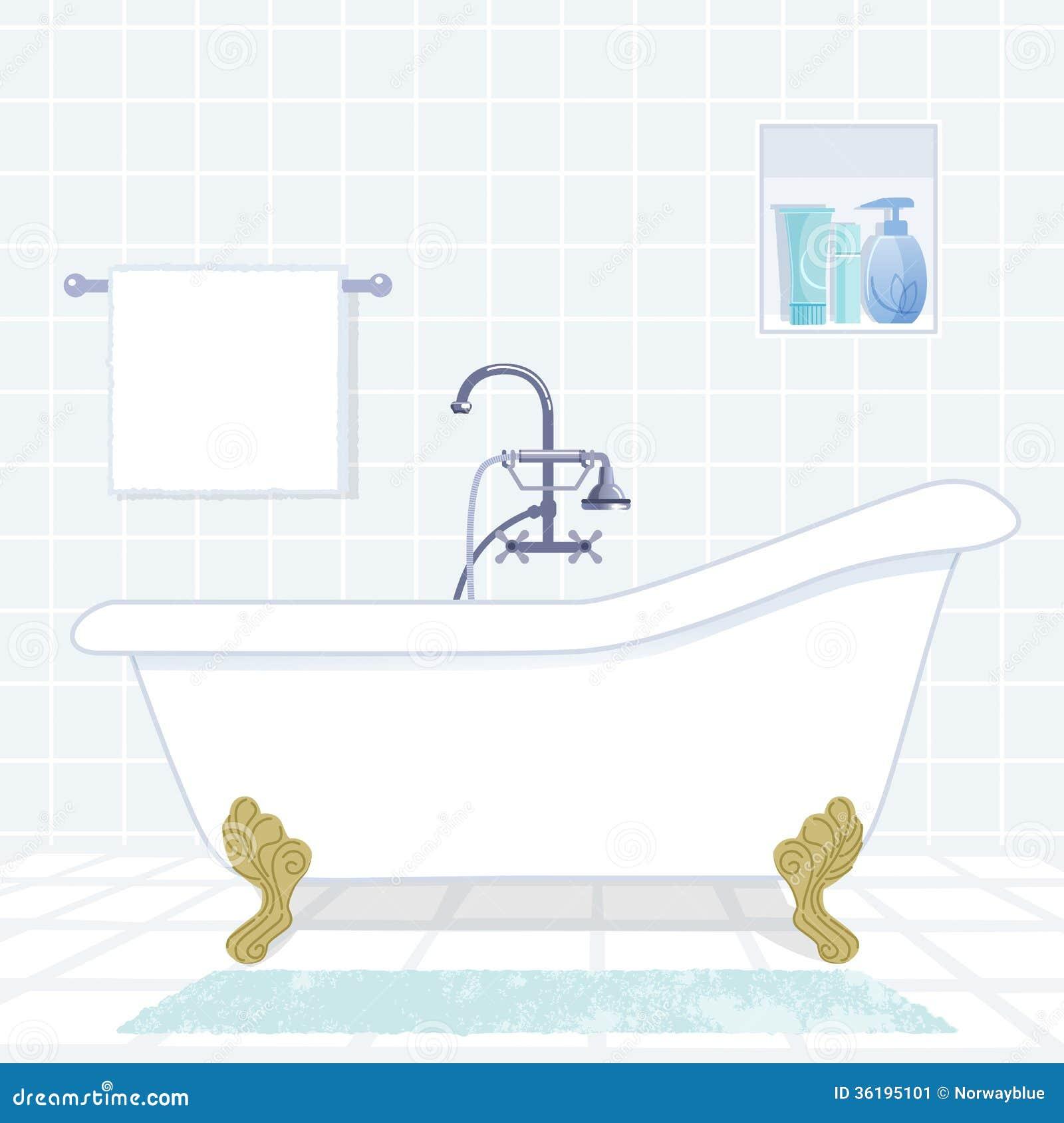 salle de bains avec la baignoire de style de vintage image stock image 36195101. Black Bedroom Furniture Sets. Home Design Ideas