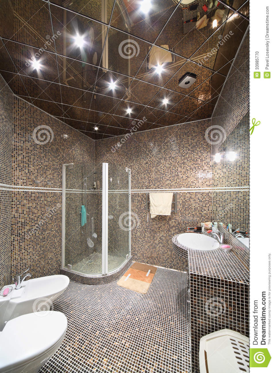 salle de bains avec la carlingue la toilette et le bidet de douche photo stock image 33985770. Black Bedroom Furniture Sets. Home Design Ideas