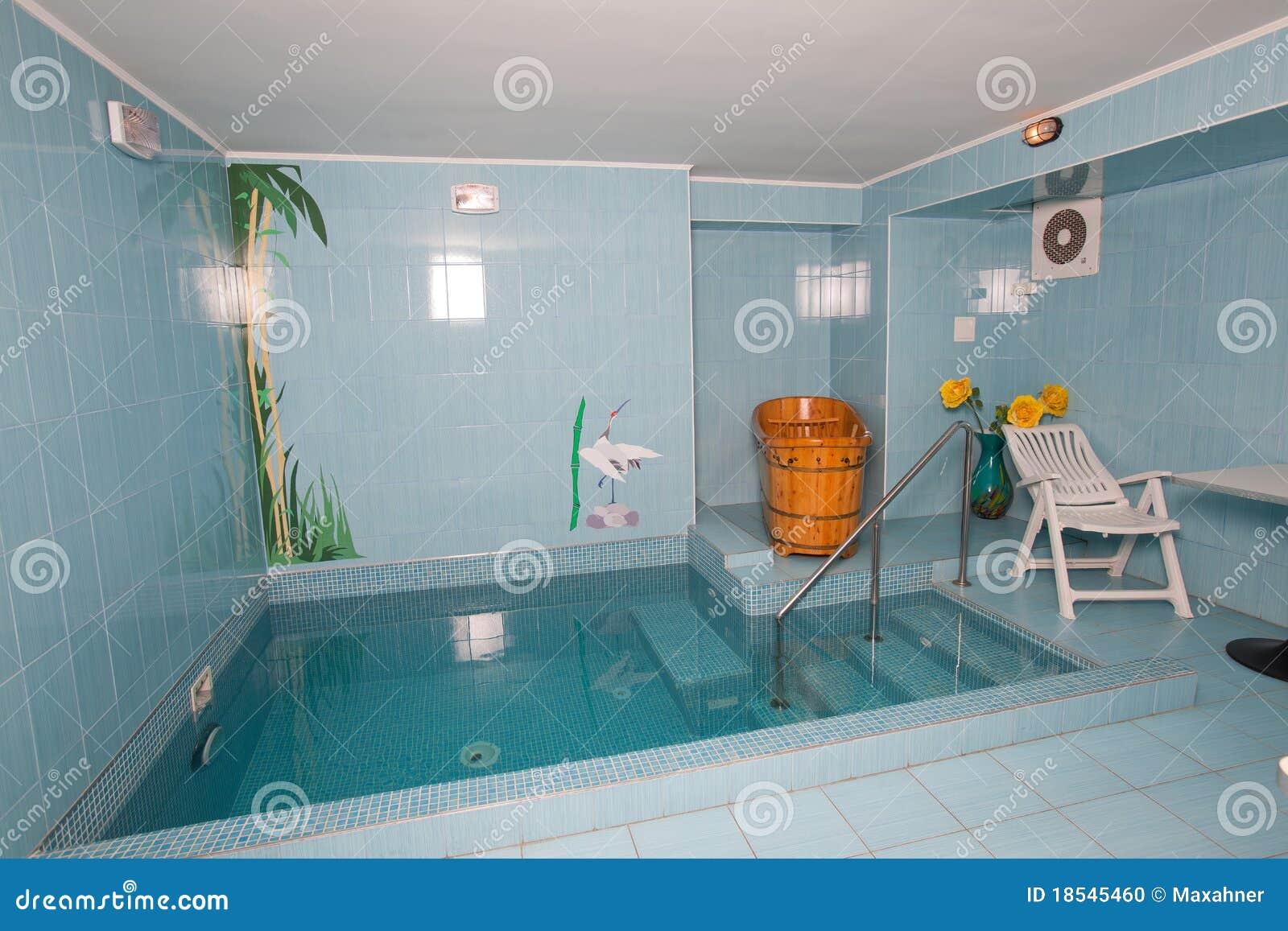 Salle de bains avec la petite piscine photo stock image for Piscine xs prix