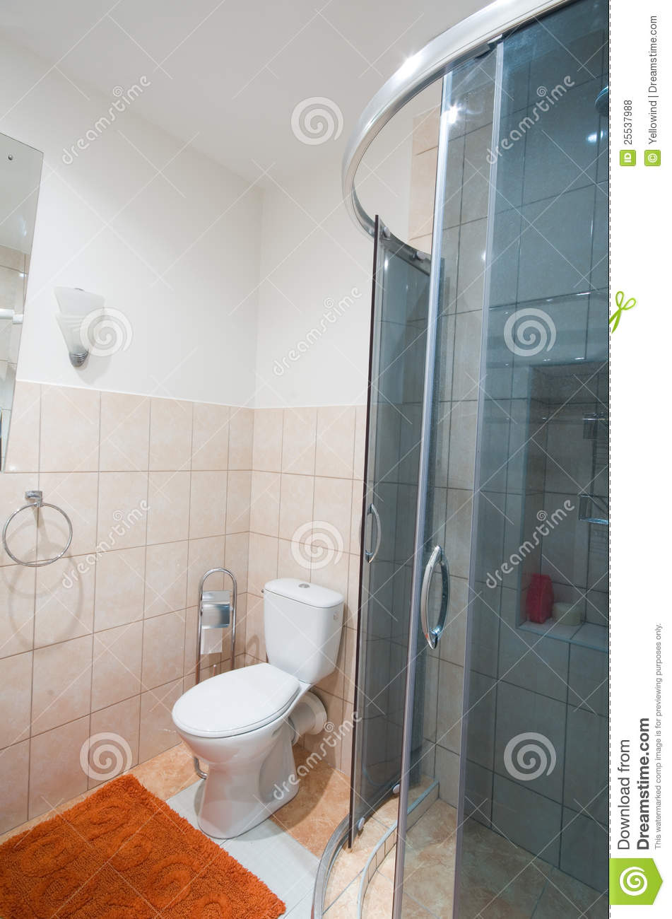 salle de bains avec la toilette de douche photo stock image 25537988. Black Bedroom Furniture Sets. Home Design Ideas