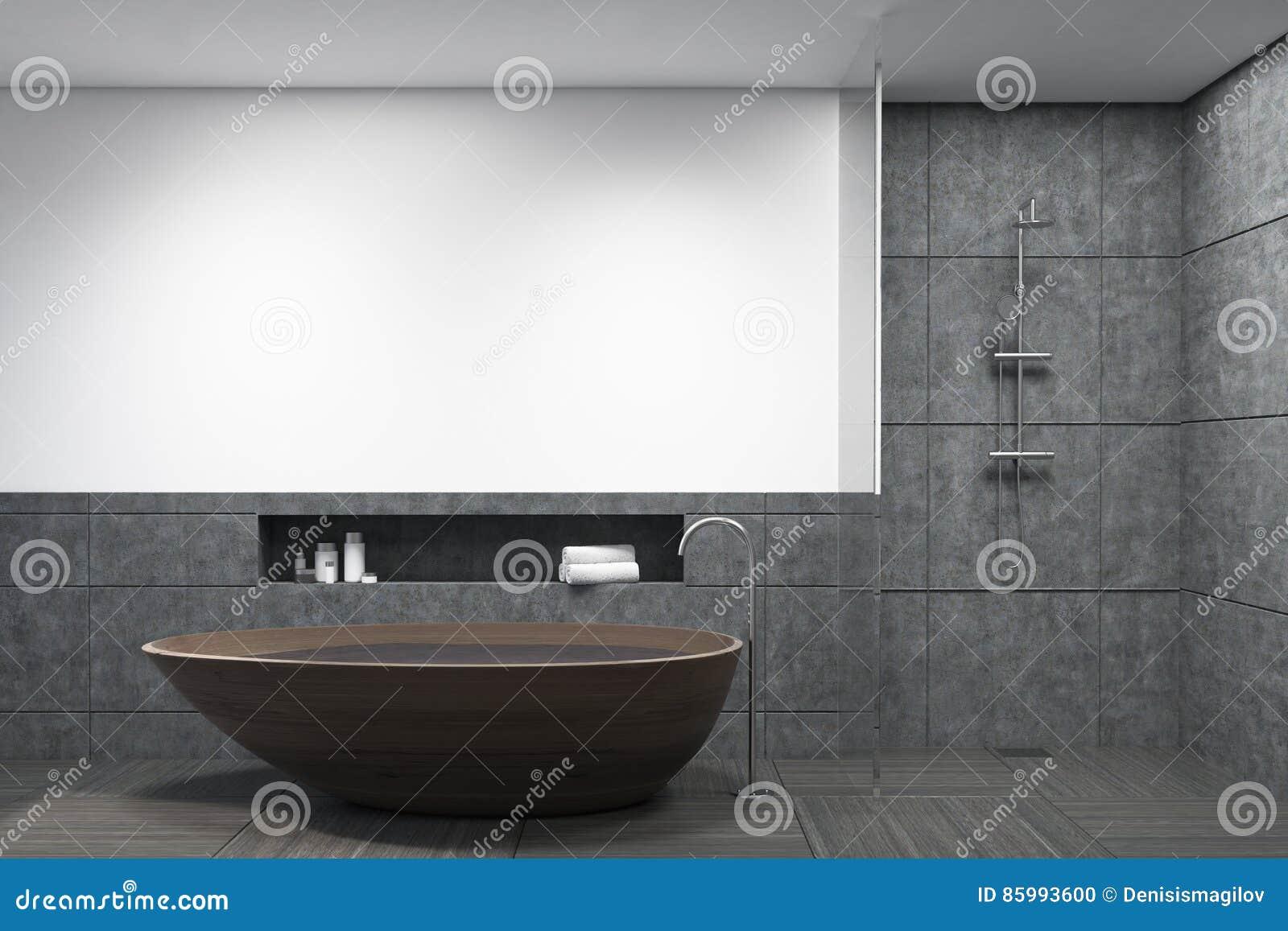 Salle De Bain Foncee ~ salle de bains avec le baquet en bois fonc illustration stock