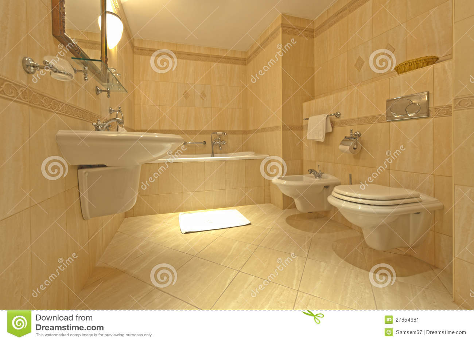 Salle de bains avec le bidet et la carte de travail image for Bidet salle de bain