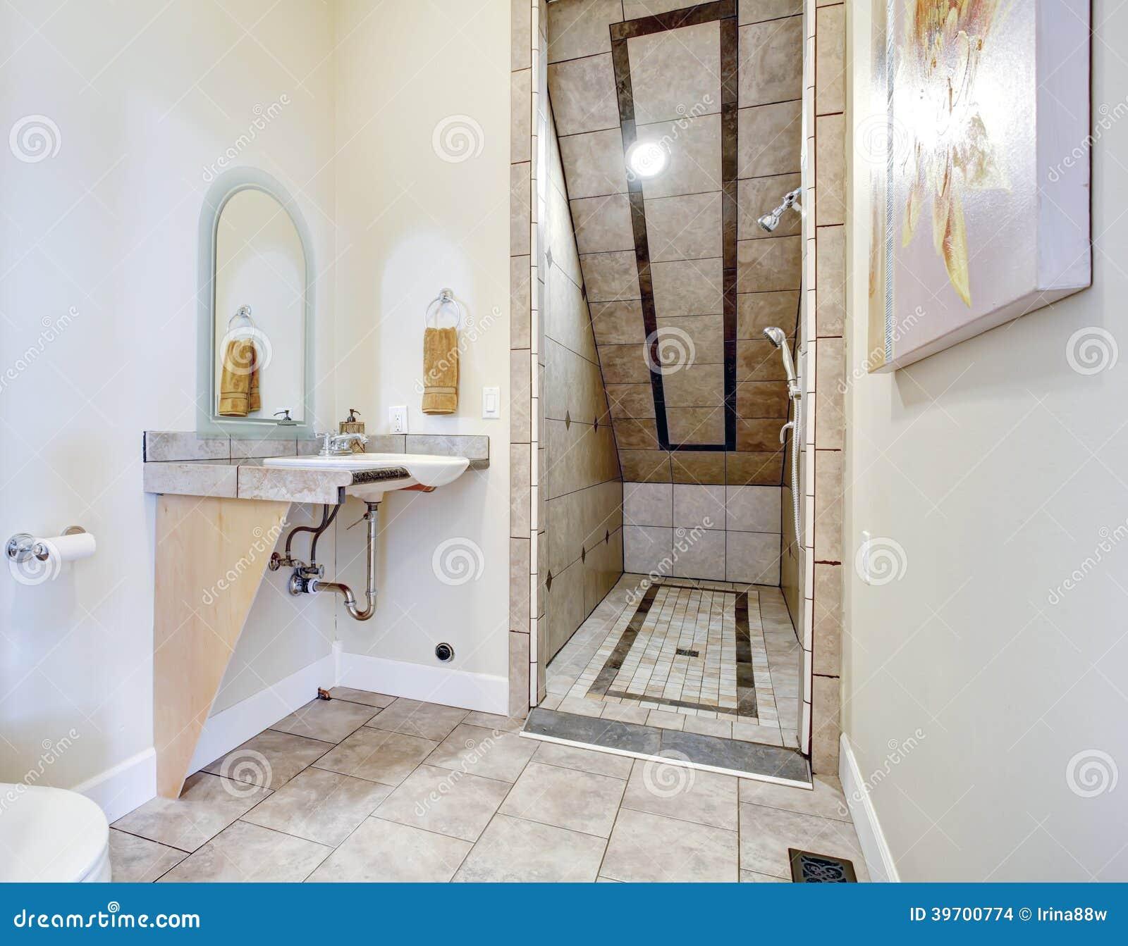 Salle de bains avec le secteur de douche de plafond vo t photo stock image du tage lumi re - Plafond de salle de bain avec spot ...
