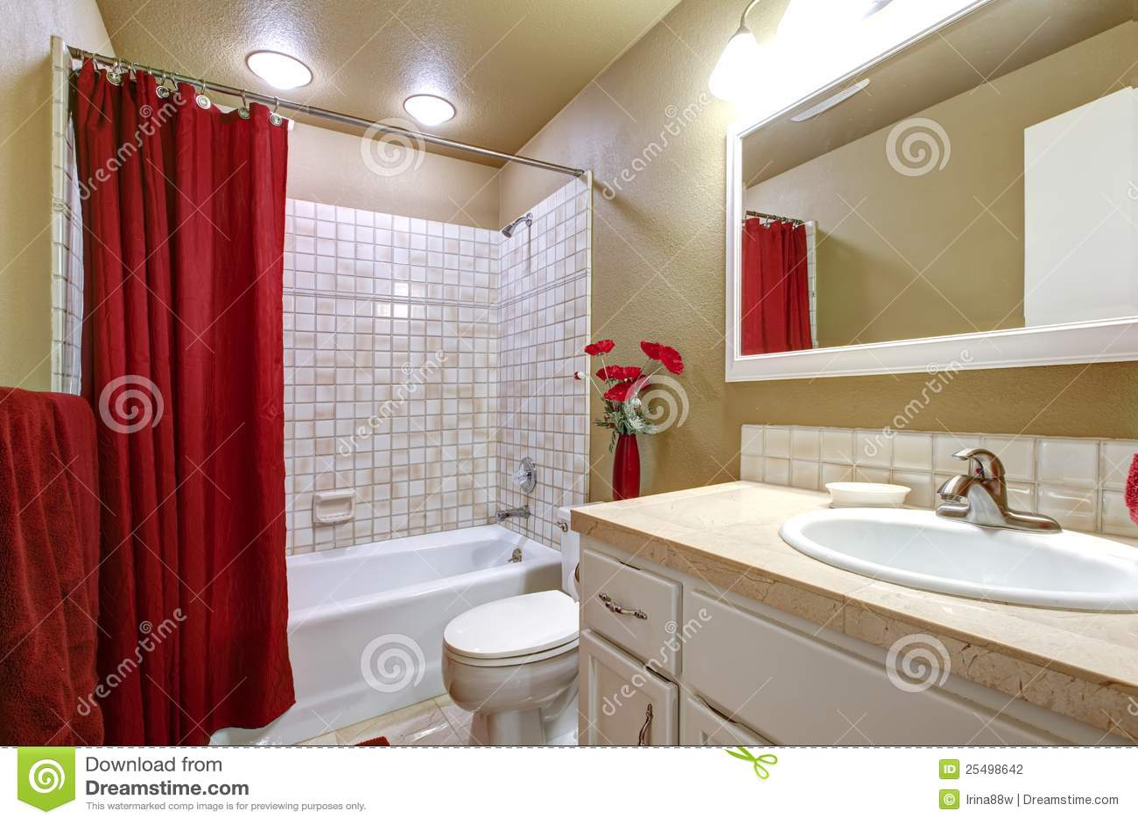 emejing salle de bain rouge et beige photos - awesome interior ... - Salle De Bain Rouge Et Beige
