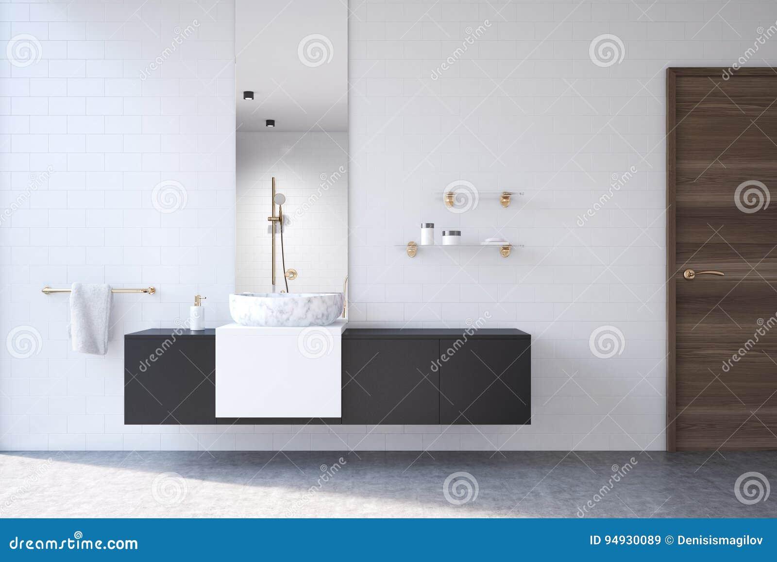 Salle De Bains Blanche étagère Noire Miroir Illustration Stock