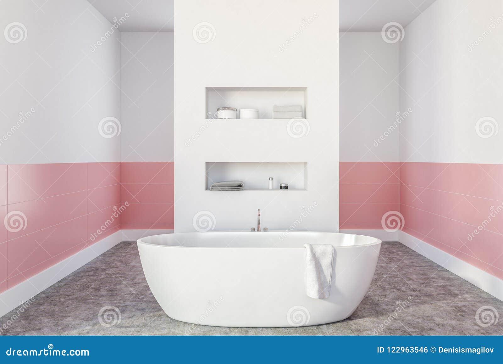 Intérieur Moderne De Salle De Bains Avec Des Murs Blancs Et Roses, Un  Plancher En Béton, Une Baignoire Blanche Et Des étagères Dans Le Mur  Moquerie Du Rendu ...